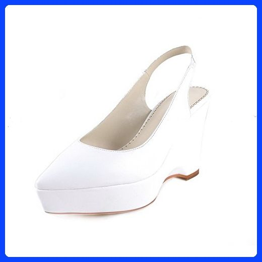 AllhqFashion Women's Pointed Closed Toe Cow Leather High Heels Sandals with Wedge and Winkle Pinker, White, 7.5 B(M) US