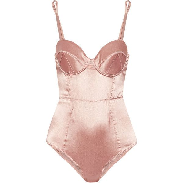 Fleur Du Mal Bullet mesh-paneled stretch-silk satin bodysuit ($460) ❤ liked on Polyvore featuring intimates, shapewear, bodysuit, lingerie, tops, underwear and pink