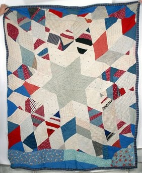 6-Pointed Star Quilt with string diamonds. 66 x 86
