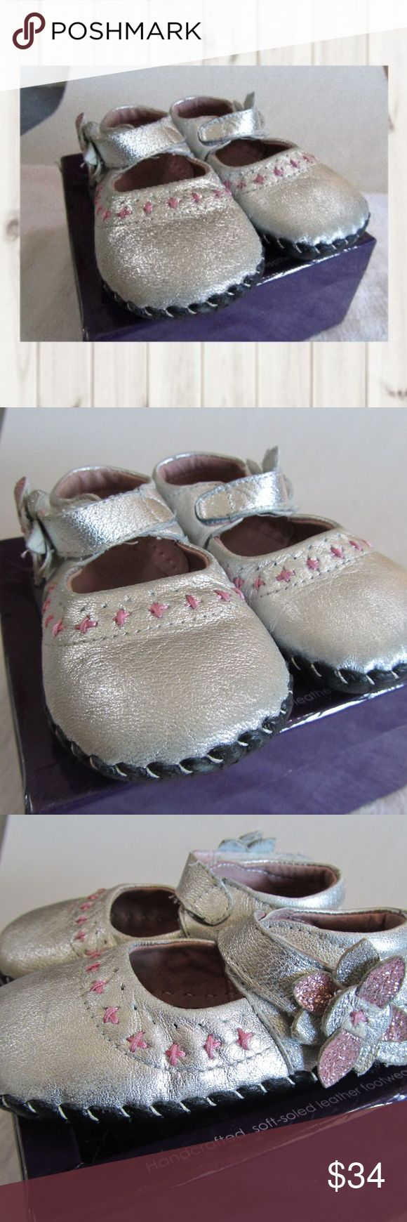 """Pediped Eva silver pink metallic leather soft shoe NWT, Pediped """"Eva"""" silver & pink metallic, leather soft sole shoes, toddler size 18-24 months. Size Large.   Smoke and pet free home  (S26-PM,EB) pediped Shoes Baby & Walker"""