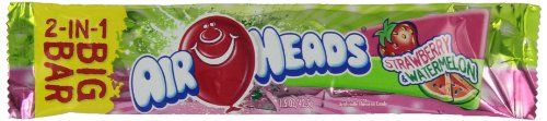 "Airheads 2-in-1 Big Bar, Strawberry and Watermelon, 1.50 Ounce (Pack of 24)  Chewy, tangy and full of fruit flavor that won't stop  Two awesome Airheads flavors in one big bar  Nut-free, Gluten-free and Low-fat  No ""BIG 8"" Allergens (no milk, eggs, peanuts, tree nuts, soy, fish, shellfish, wheat)  Get creative and cut or mold Airheads into custom treats  Visit pinterest com/airheadscandy for ideas  Includes 24 individually wrapped strawberry & watermelon big bars"