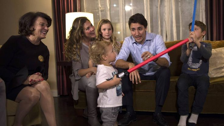 Liberal Leader Justin Trudeau watches the Oct. 19, 2015, results at a Montreal hotel with his mother Margaret (left), wife Sophie Grégoire, daughter Ella-Grace and sons Hadrien and Xavier.