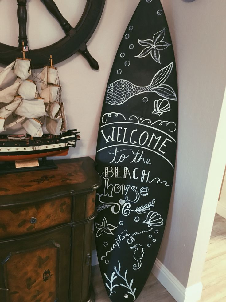 Homemade DIY chalk surfboard // beach house welcome // chalk board