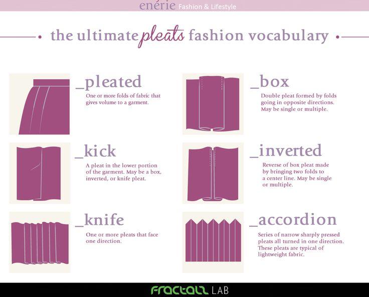 Con questo nuovo fashion vocabulary, Enérie vi porta alla scoperta delle diverse tipologie di pieghe degli indumenti. PLEATED: pieghe necessarie per dare maggiore ampiezza alla gonna. Possono essere libere sesemplicemente inserite nel cinturino o possono essere trattenute da una cucitura. BOX: piega che permette di aumentare l'ampiezza in determinati punti di un indumento. Si ottienepiegando ...read more!