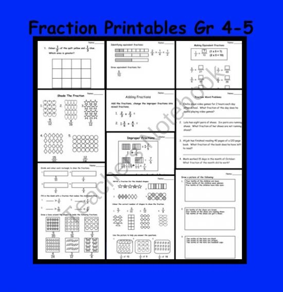 Fractions (Equivalent, Improper, Mixed) Printable Worksheets for Gr 4-5 product from Teaching The Smart Way on TeachersNotebook.com