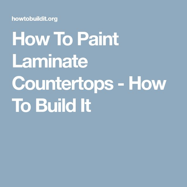 how to build a laminate countertop from scratch