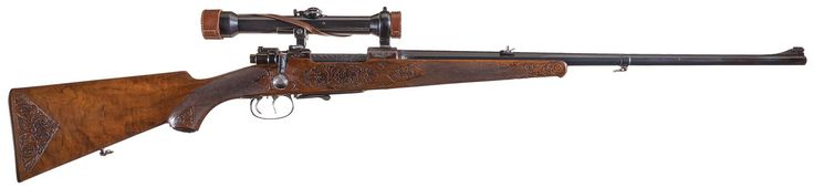 Engraved Mauser Model 98 Bolt Action Rifle with Scope
