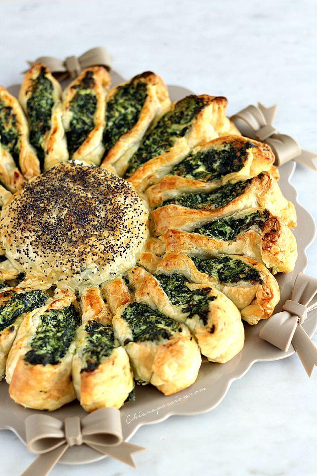 Chiarapassion: Torta fiore di spinaci e ricotta, girasole