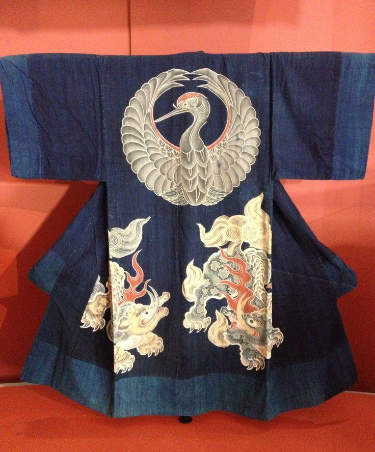 """Tsutsugaki Futon cover. Œuvre exposée lors de l'exposition """"Tsutsugaki, textiles indigo du Japon du musée Guimet"""""""