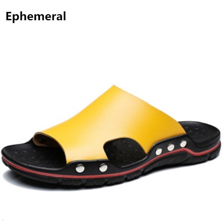 Man Split leather slippers rivet shoes summer slides open toe european style plus size 17-7 black yellow fashion slipper for men #Affiliate