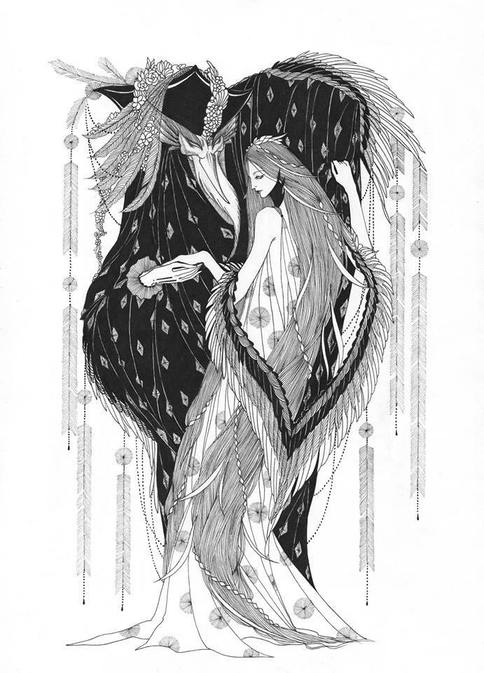 Marina Mika Illustration, The Heron and the Crane - (folktale)