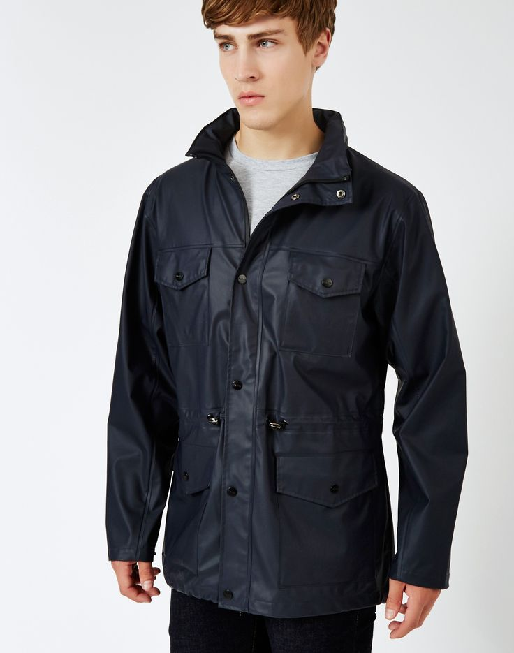 New In from Rains | Four Pocket Jacket in Blue - £98.90 | Packable Hood - Ventilation holes under arm - Functional Snap Closure - Two-way Functioning Zips - Waterproof | Get yours at The Idle Man