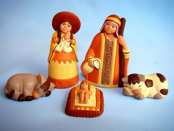 Peru Nativity Creche  HandPainted Peruvian Clay Folk by RAYMAPERU, $14.00