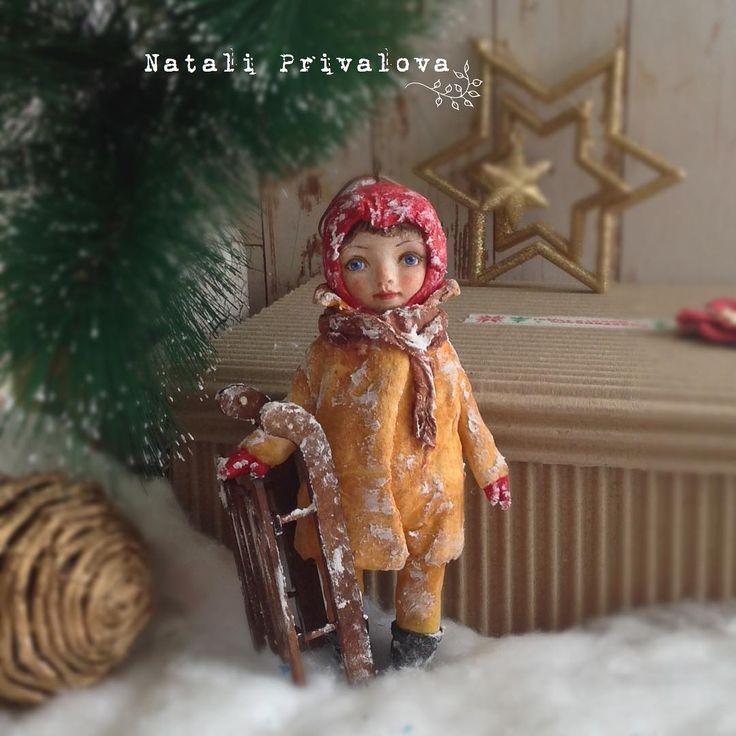 """Наталья Привалова on Instagram: """"Девочка с санями Продана. #ватнаяигрушка #новыйгод #кукла #елочнаяигрушка #ватныеелочныеигрушки"""""""