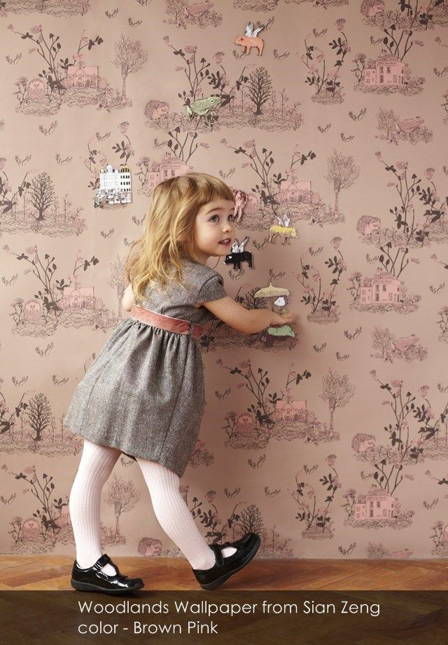 Woodlands Wallpaper (Magnetic or Normal) from Sian Zeng in Brown Pink