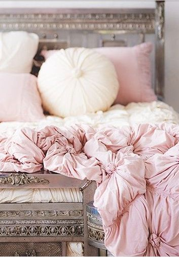 I really love the boho feel of the blush pink comforter.