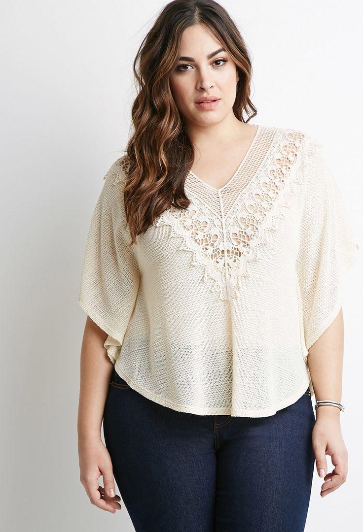 Plus Size Crochet-Trimmed Sweater