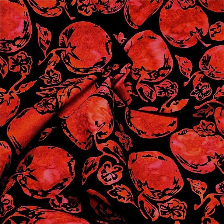 Hoffman Cotton Batik Fabric, Apples, Bright Red on Black, Per FQ #Hoffman