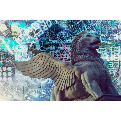 "Fluorescent Palace ""Lion Fly Graffiti"" Canvas Art"