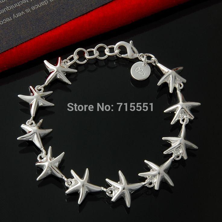 Серебряный морская звезда браслет, 925 серебряный браслет, браслет ювелирных изделий, бесплатная доставка