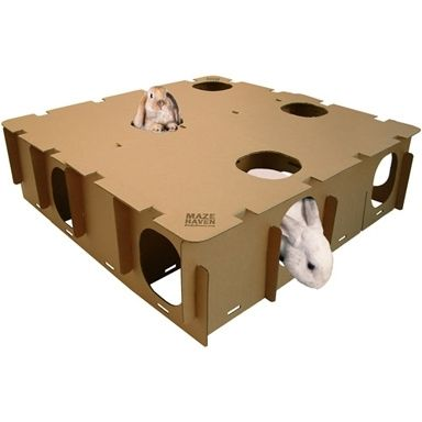 Maze Haven: Create a horizontal and/or vertical labyrinth of cubby holes, pathways and hideouts for your rabbit to explore. Change just the inside by switching around the panels. This toy feeds into your rabbit's natural instinct to map surroundings as a survival tactic. You can arrange the maze differently to keep your bunny on her toes.