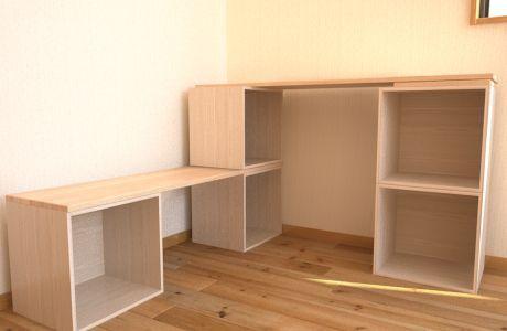 板と重ねて作るカラーボックスシェルフ/インテリアDIY →机とかテーブルにもなるかも