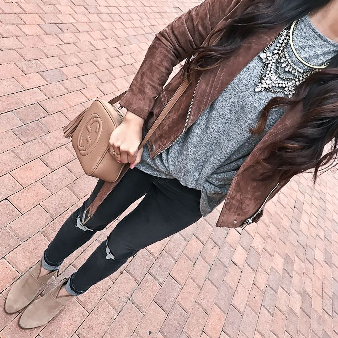 Grendel Bib, Twist front cozy fleece pullover, Gucci soho disco leather bag, Jamie Shredded High Rise Skinny Jeans, Vince Camuto Franell western booties, fall outfit, winter outfit, gray and brown outfit, petite fashion blog - click the photo for outfit details!