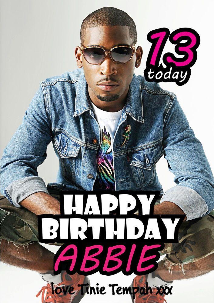 Tinnie Tempah Rapper Singer Personalised Birthday Card A5
