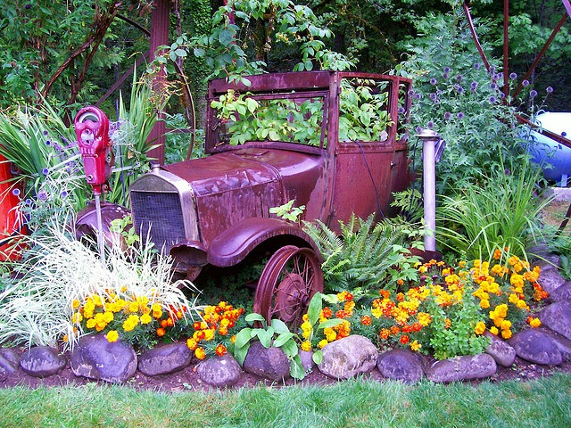 rusty car parked in flowers  [previous pinner's caption, very slightly modified]