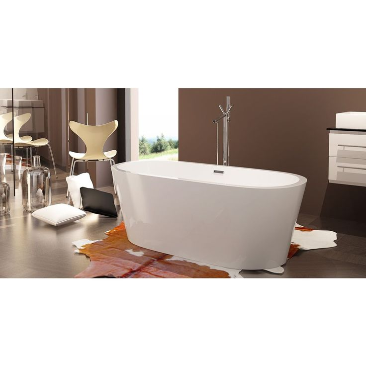 HelixBath Pella White Acrylic/ Stainless Steel Frame Rectangular-overflow Freestanding Contemporary Bathtub (