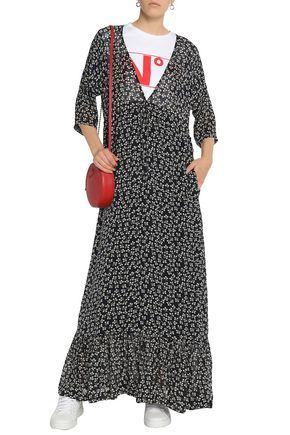 880bad3a4236 GANNI Fluted floral-print crepe de chine maxi dress | Current ...