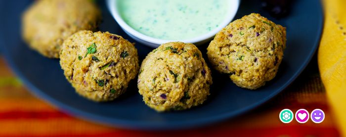 Baked Falafel with Coriander Dipping sauce. Great week night supper.