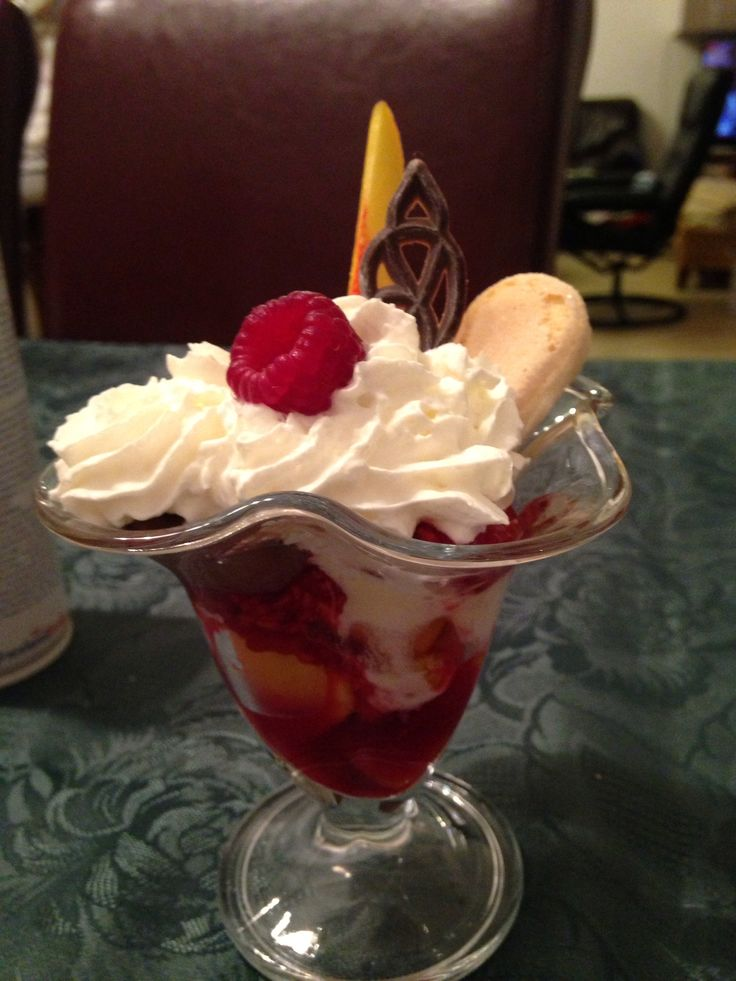 Magic ice cream cup with seasonal fruits