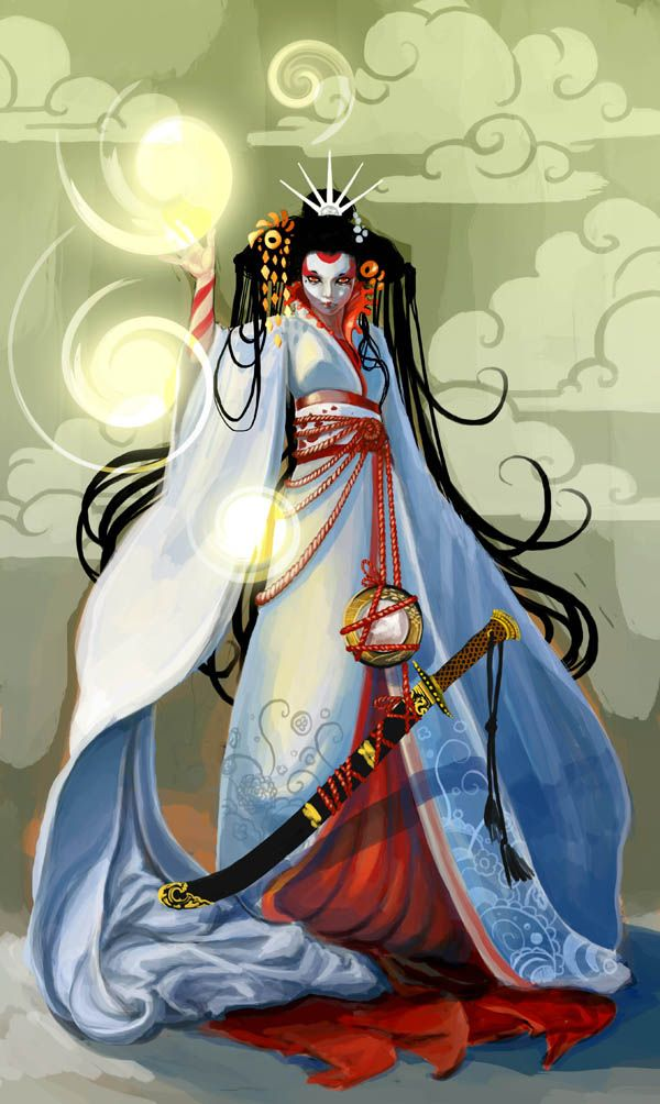 "Amaterasu (天照?) is a part of the Japanese myth cycle and also a major deity of the Shinto religion. She is the goddess of the sun, but also of the universe. The name Amaterasu derived from Amateru meaning ""shining in heaven."" The meaning of her whole name, Amaterasu-ōmikami, is ""the great august kami (god) who shines in the heaven"".[1] The Emperor of Japan is said to be a direct descendant of Amaterasu."