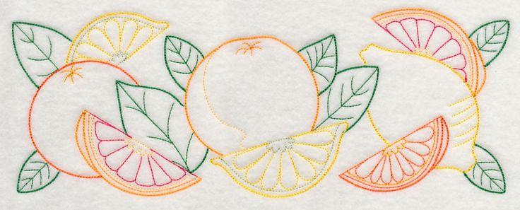 Citrus Fruit Border (Vintage) design (J4572) from www.Emblibrary.com