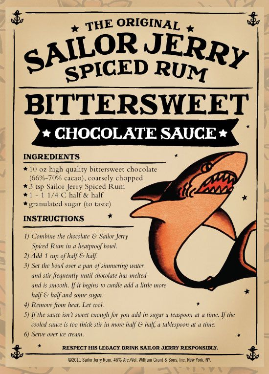 Bittersweet Chocolate Sauce. Sailor Jerry Rum Mud Cake. I can't wait to try this, Sailor Jerry is our favorite rum.....didn't think to cook with it.