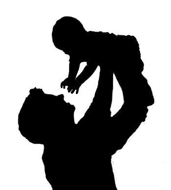 silhouette dad and baby