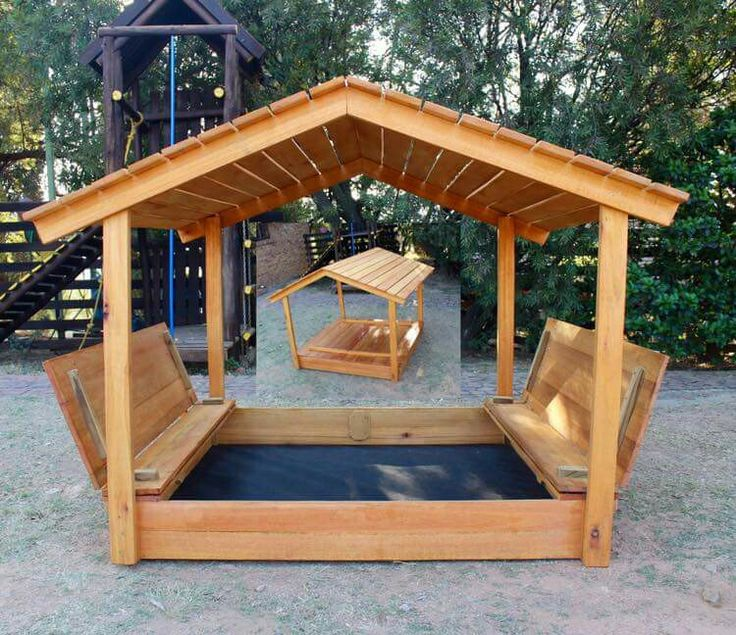 Sand box with pitched roof