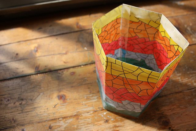Colourful designed lantern for the German tradition of Lanternenumzug