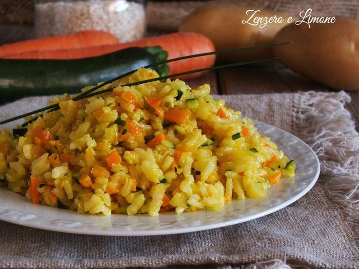 Riso+bollito+con+verdure+e+curcuma