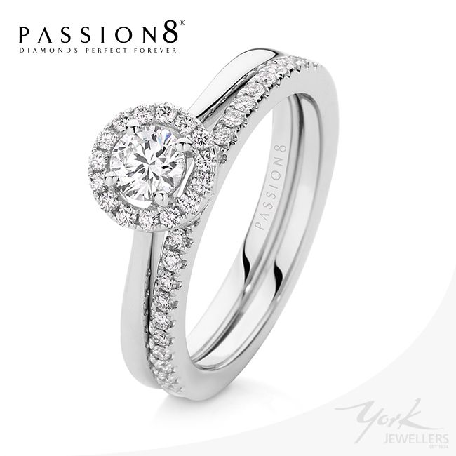 Passion8 Diamond engagement ring and matching wedding ring. Now available at York Jewellers