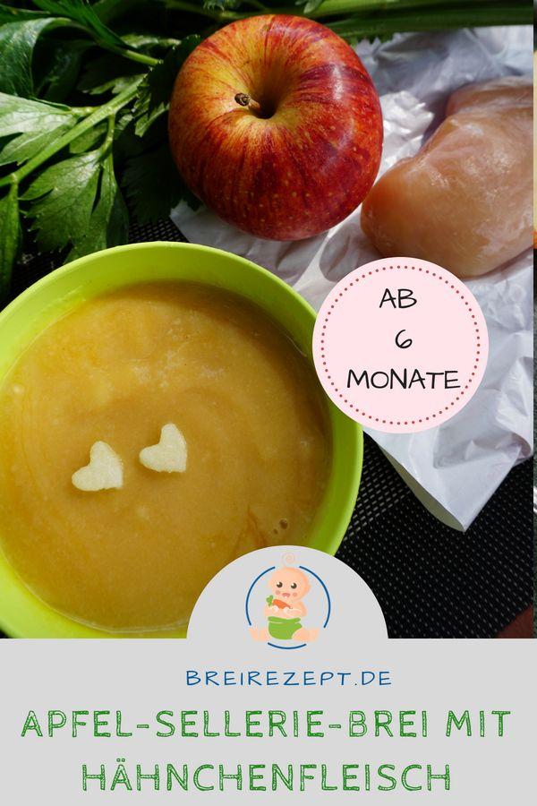 Apfel-Sellerie Babybrei mit Hähnchenfleisch für das Baby ab 6 Monate: www.brei…