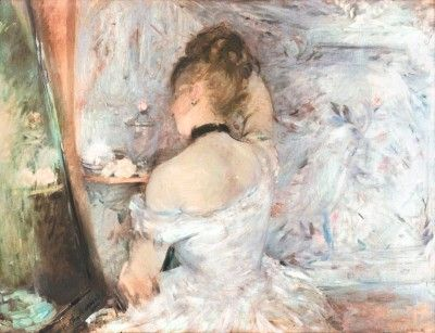Woman at her Toilette, Berthe Morisot, 1875, Oil on canvas, 23 3/4 x 31 5/8 in., The Art Institute of Chicago.