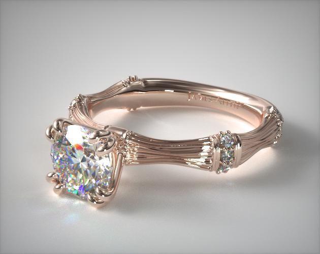 14k Rose Gold Organic Bamboo Engagement Ring Diamond Accent Engagement Rings Shop Engagement Rings Gemstone Wedding Rings