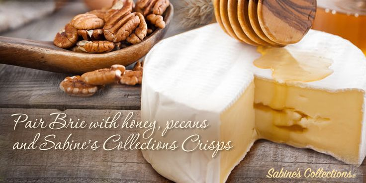 Parties are better with Brie! Top your favorite Sabine's Collections Crisps with slice of warm Brie before giving it a decadent drizzle of honey and toasted pecans. Perfect for evening entertaining. #entertaining #recipe