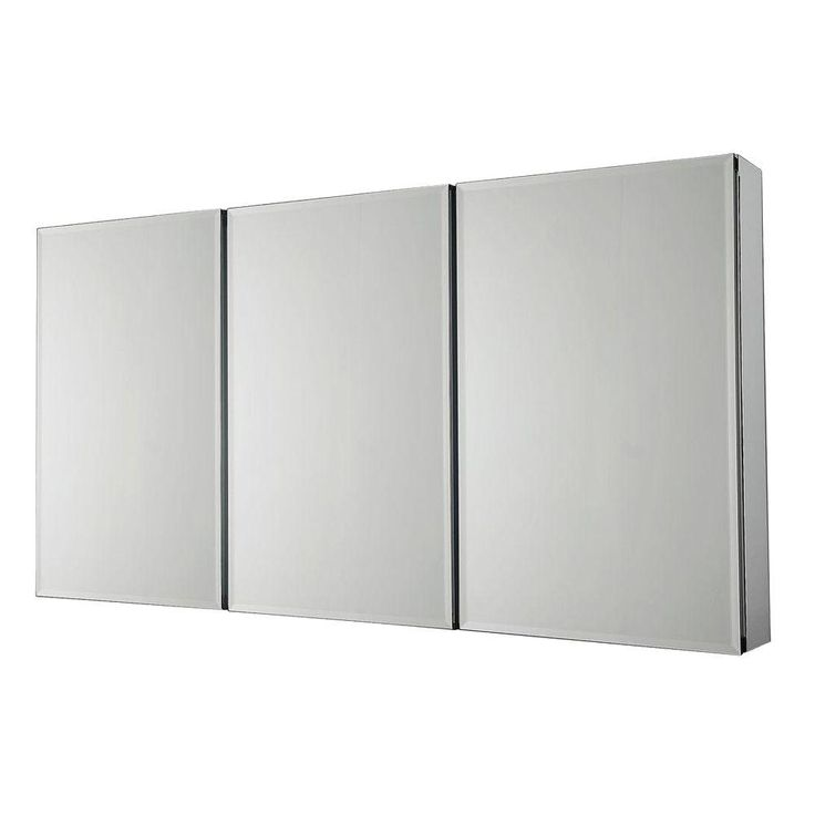 Pegasus 48 In W X 26 In H Frameless Recessed Or Surface Mount Tri View Bathroom Medicine Cabinet With Beveled Mirror Sp4588 The Home Depot In 2020 Medicine Cabinet Mirror Mirror Cabinets Beveled Mirror