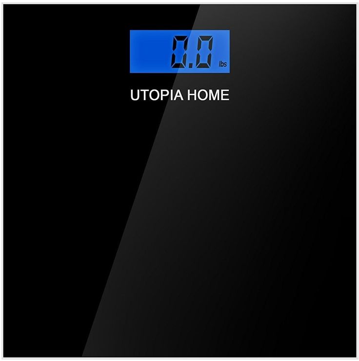 Digital Glass Bathroom Scale - Black - Ultra Slim Tempered Glass - by Utopia Home