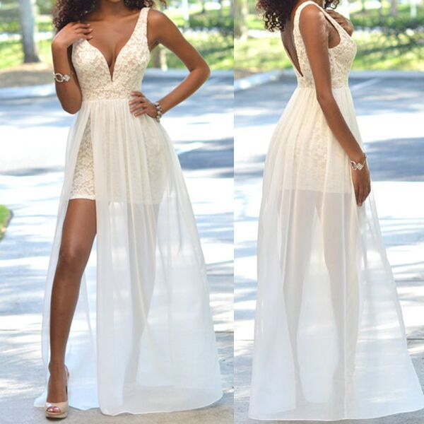 Top Selling Ivory Long Lace Prom Dresses, Charming Beading Prom Dresses, Evening Dresses,Prom Dresses,Sexy Front Split Prom Dresses,Wedding Dresses,Beach Wedding Dresses