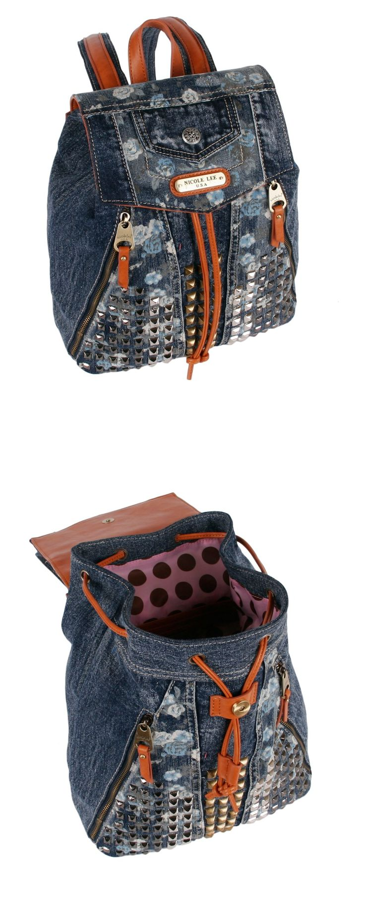 RIKKY FLORAL STUDDED DENIM BACKPACK by Nicole Lee #nicolelee #nicolelee2014 #backpack