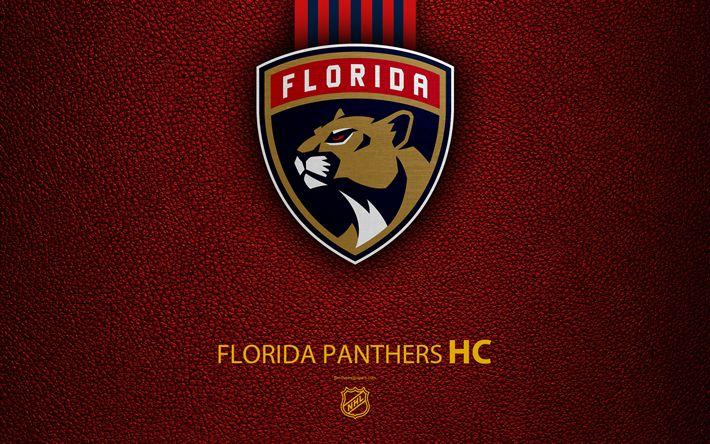 Download wallpapers Florida Panthers, HC, 4K, hockey team, NHL, leather texture, logo, emblem, National Hockey League, Sunrise, Florida, USA, hockey, Eastern Conference, Atlantic Division